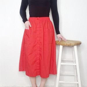 Vintage 80s Red Button Front A-Line Midi Skirt